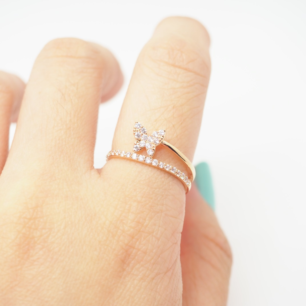 Rose Gold Butterfly Ring, Simple Ring, Cute Ring, Cool Ring ...