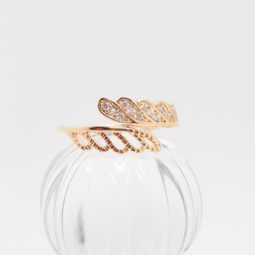 Rose Gold Wings Ring, Leaf Ring, Open Ended Ring, Simple Ring ...