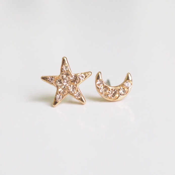 Gold Star And Moon Earrings Stylish Simple Earring Cool Cute S Sku300624
