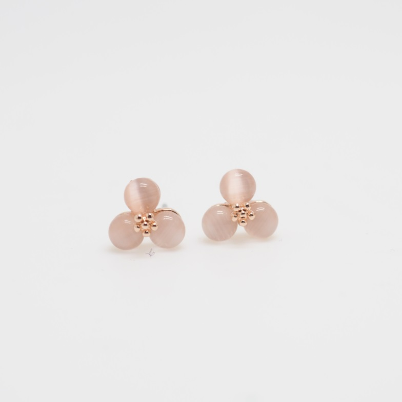 Rose Gold Flowers Stud Earring Simple Pink Stone Earrings Unique Cute Elegant Cool Sku300341