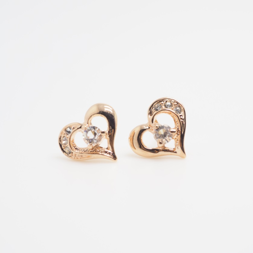 Rose Gold Love Heart Earring Cute Earrings Simple Cool Stud Gift Unique S Sku300579