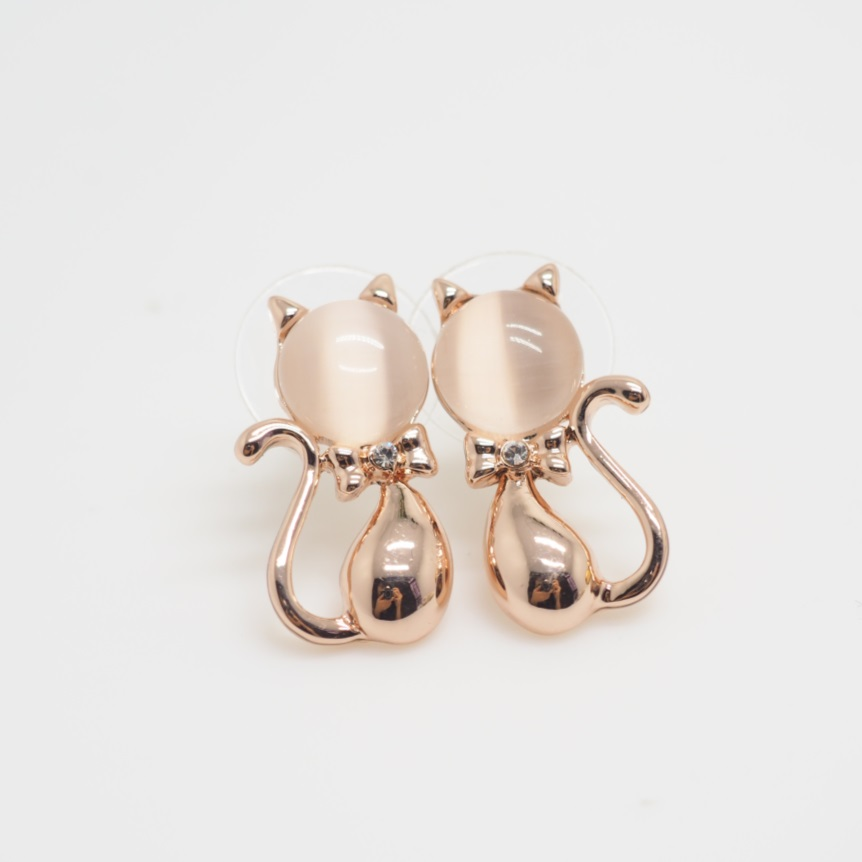 Rose Gold Cat Earrings, Animal Earrings, Cute Earrings, Girls ...