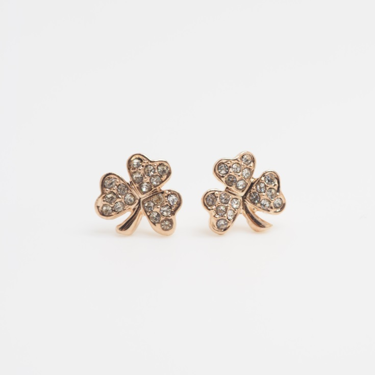 Rose Gold Four Leaf Clover Earrings Flower Cute S Stud Simple Sku300590