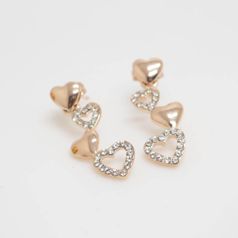Rose Gold Love Hearts Earring Long Earrings Simple Cool Stud Gift Unique S Sku300598