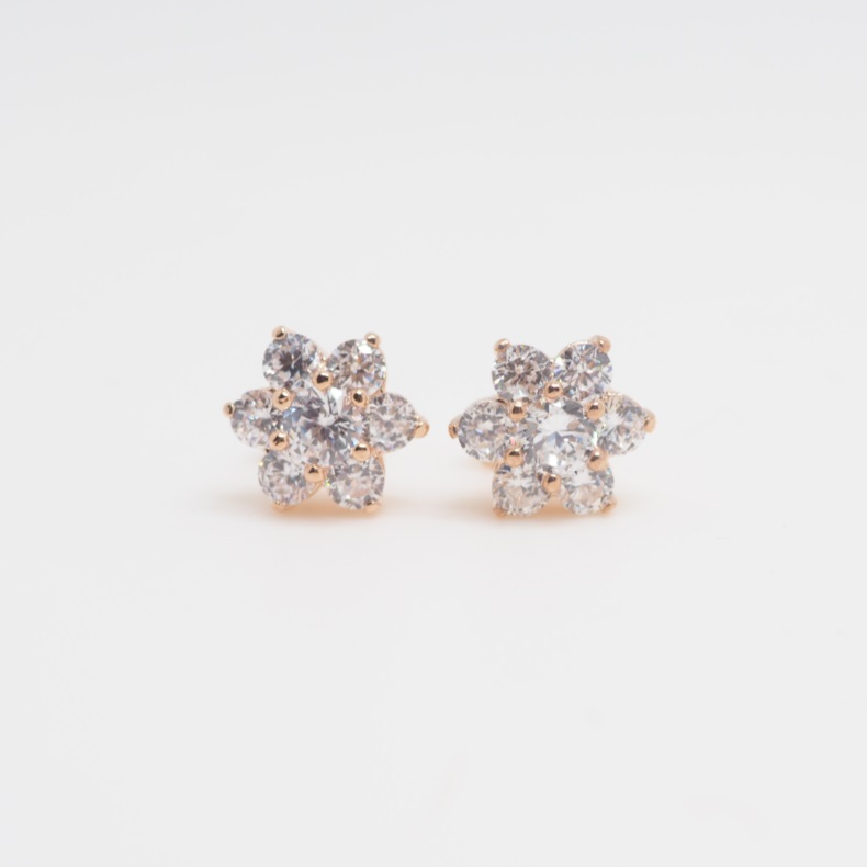 Rose Gold Crystal Flower Earrings Cute S Earring Stud Unique Stylish Gift Simple Sku300606