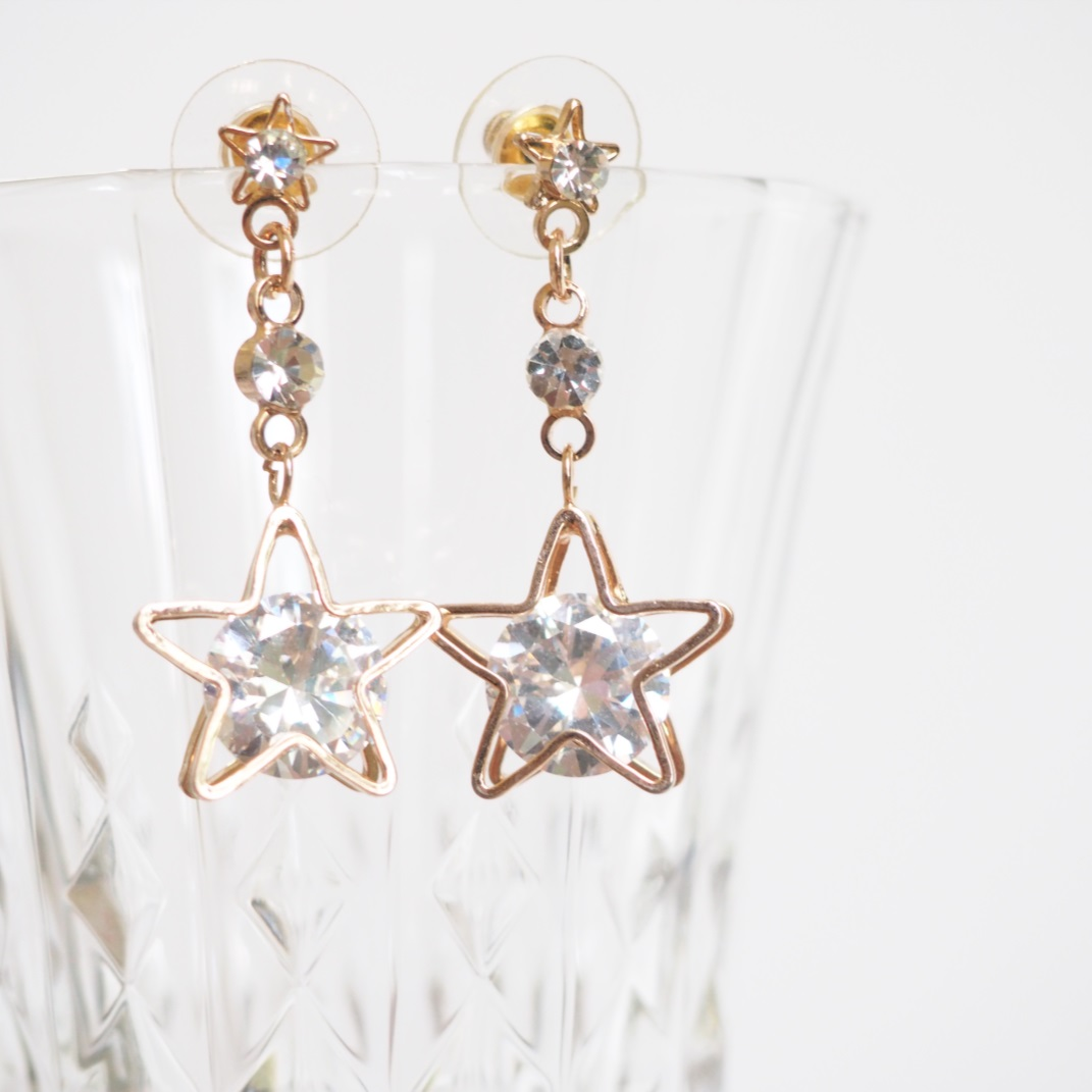 Gold Long Stars Earrings, Drop Earrings, Stylish Simple Earring ...