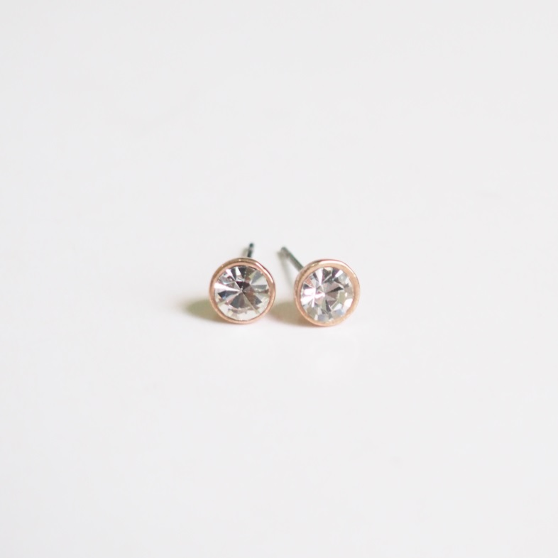 Rose Gold Stud Earrings Stylish Simple Earring Cool Cute S Crystal Unique Sku300621a
