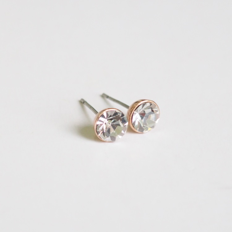 Rose Gold Stud Earrings Stylish Simple Earring Cool Cute S Crystal Unique Sku300621b
